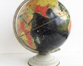 """Vintage Precision Globe, Black Oceans, Repogle 12"""" Starlight, circa early 1950s"""