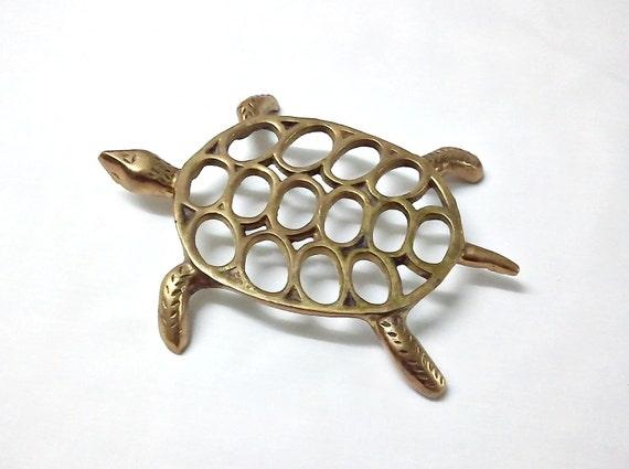 Vintage Turtle Trivet Made of Brass
