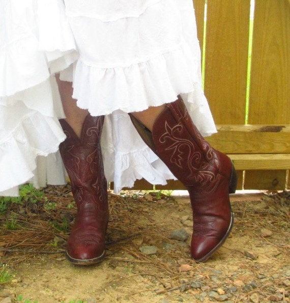Vintage Cowboy Boots, Maroon, Hondo Brand, w/ Pull Straps, Size 8