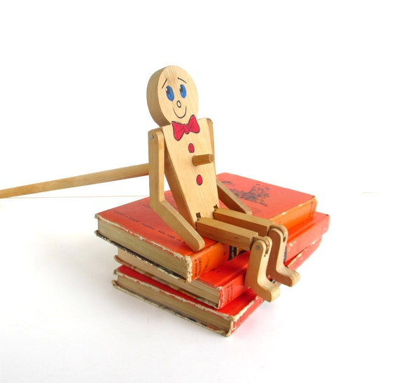 Vintage Wooden Puppet, Limberjack Toy, Jig Doll, Dancing, Painted, Red, Blue