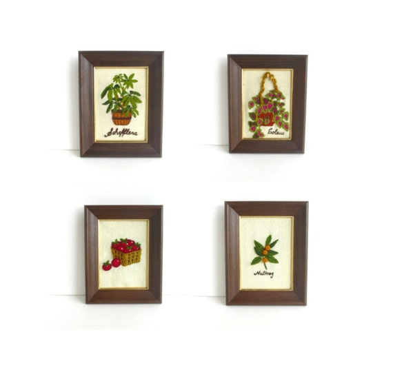 Vintage Needlepoint Art, Set of 4 Wall Hangings, Kitchen Decor, Plants, Botanical, Retro