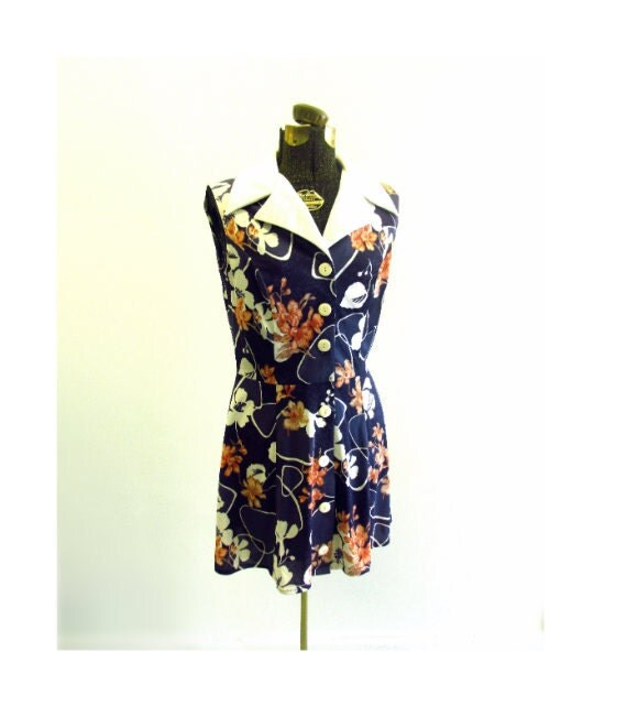 Vintage Mini Dress, Navy Blue, Floral, White Pointed Collar, 1960s, 70s