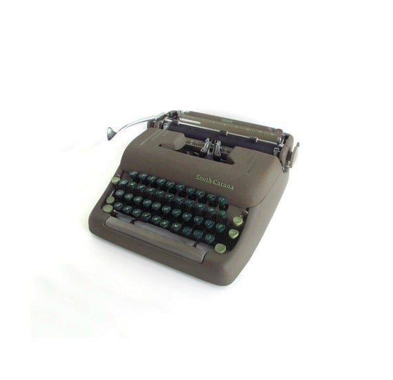 Reserved - SALE 1950s Manual Typewriter, Smith Corona Silent, Green & Gray, Portable, w/ Case