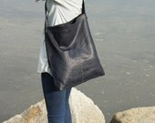 Navy Leather Bag - Ultra Soft - Hand Stitched