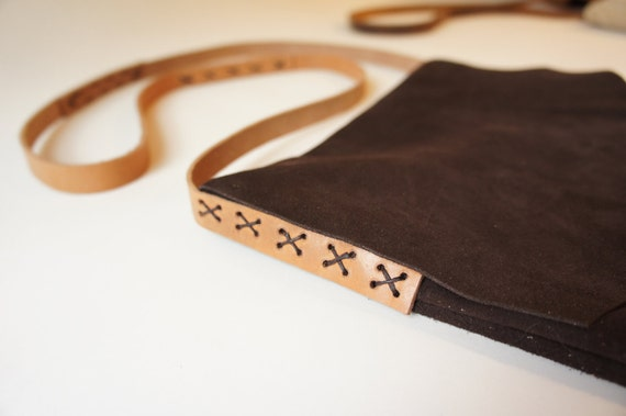 SALE - Suede Bag in Chocolate Brown - 20 % off