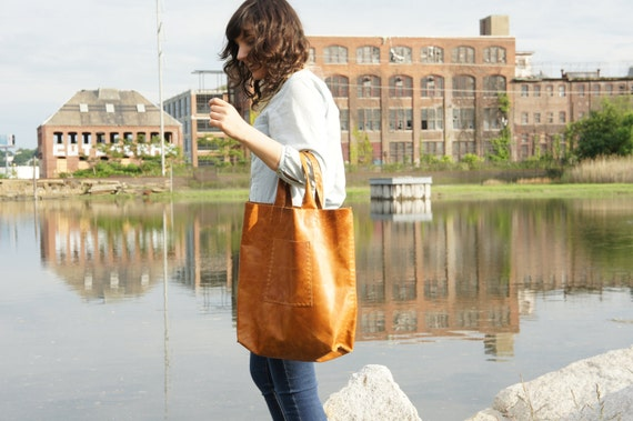Large  Leather Tote - Distressed Tan - Super Soft