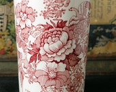 MALING ENGLAND Glass Decorated with Rose Colored Flowers and Birds