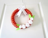 Black Friday Etsy, Cyber Monday Etsy, Christmas Wreath, Door Wreath, White Roses, Green and White, Handmade Wreath