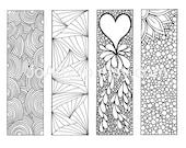 Zentangle Inspired Art Bookmarks DIY, Printable Coloring, Digital Download, Sheet 2