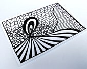 ACEO Original Drawing, Zentangle Inspired Art, Black and White Zendoodle