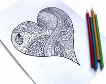 Printable Coloring Page, Zentangle Inspired Valentines Printable- Page 1: Zendoodle Heart