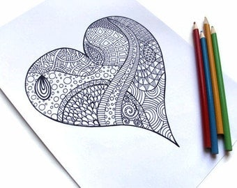 Valentine's Printable Coloring Page, Zentangle Inspired PDF Page 1: Zendoodle Heart