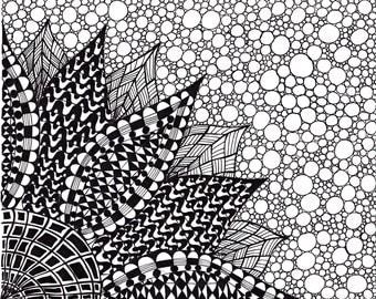 Zentangle Inspired Flower Art print, Ink Drawing Zendoodle Flower, Printable Art, Black and White