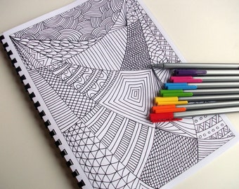 Zentangle Inspired Coloring Book, Printable Activity forsook ages, 12 Zendoodle Coloring Patterns to Color in