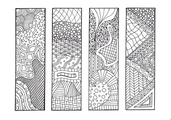 Bookmarks to Color, Zentangle Inspired Coloring, 12 Unique Bookmarks to Print and Color