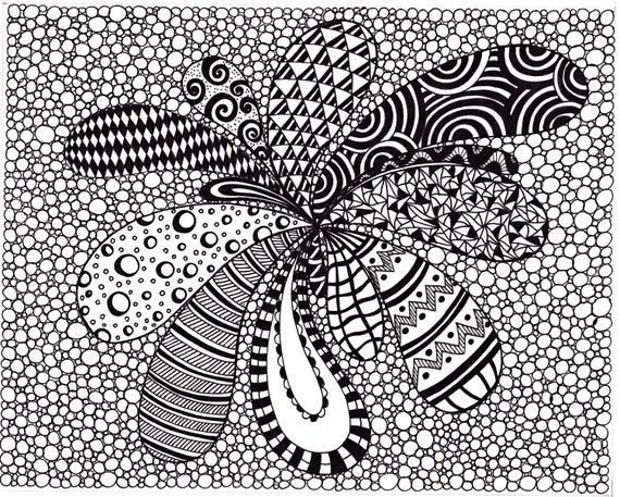 zentangle inspired abstract art print ink drawing zendoodle printable art black and white