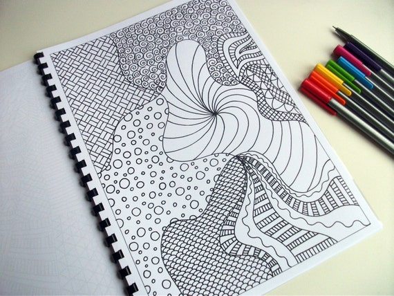 Printable Coloring Page, Zentangle Inspired Coloring Pattern, Page 27