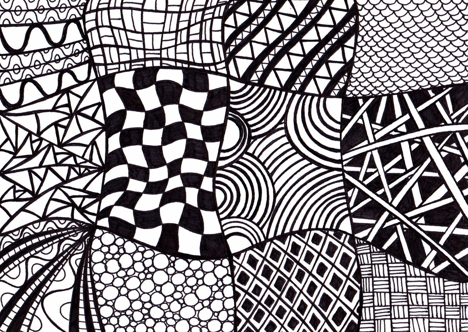 Black and white printable art zentangle inspired ink drawing - Design art black and white ...