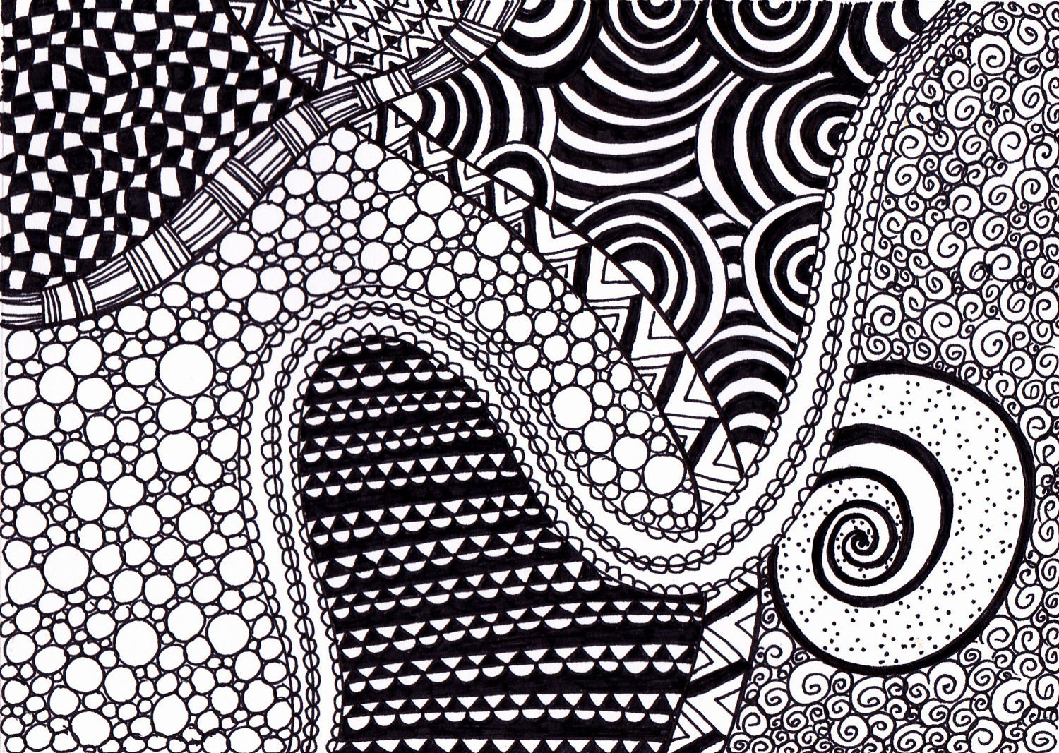 Zentangle Inspired Art Ink Drawing Black and White