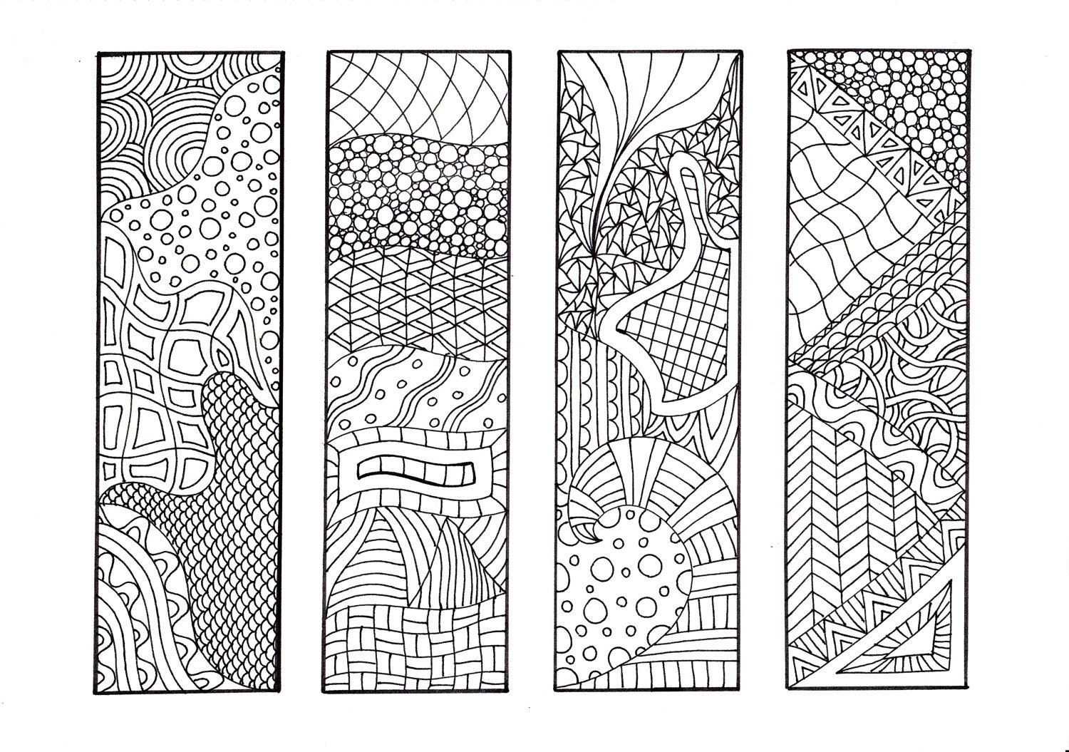 Printable Coloring Bookmarks Free : Zentangle inspired printable coloring bookmarks unique