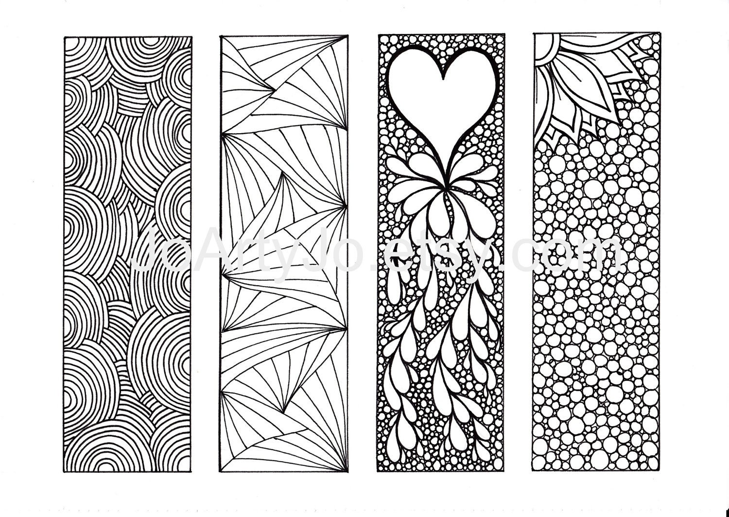 Printable Coloring Bookmarks Free : Bookmarks to color diy zentangle inspired printable digital
