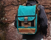 Small backpack --turquoise, brown, southwest -- made to order.