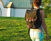 Mini Skinny Backpack -- Black and Aztec -- made to order.