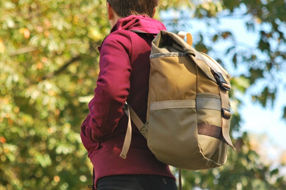 Mini-adventure fold top backpack in Latte and Gold--Ready to ship