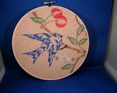 1930's-40's retro, bluebird of happiness with cherries embroidery