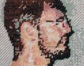 """Cross stitch portrait.  9"""" x 12"""""""