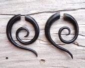 Fake Gauge Earrings Black Horn Fake Plug Tribal Spiral Earrings Organic Expanders - FG014 H G1