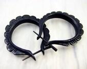 Oval Hoop Handmade Black Horn Post Earrings Tribal Style - Gauges Plugs Bone Horn - PE004 H G1