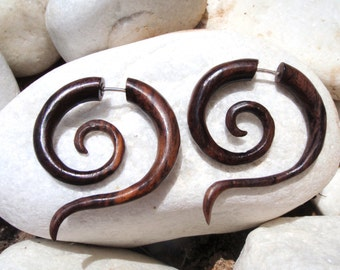 Earrings Fake Gauges Earrings Wood Tribal Spiral Earrings - FG014 W G1
