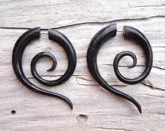 Fake Gauge Earrings Black Horn Fake Plug Tribal Spiral Earrings Organic Expanders - FG014 H G1