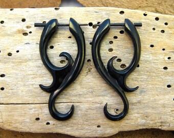 Post Earrings Jasmine Curls Black Horn Tribal Style - Gauges Plugs Bone Horn - PE008 H G1