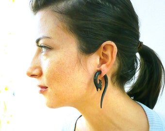 Fake Gauges Earrings Drops Wooden Earrings Black Flower Organic Natural Tribal Earrings Organic - FG012 DW G1