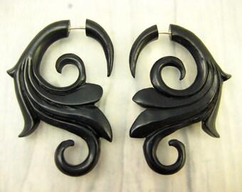 Fake Gauges Wooden Earring Flower Spiral Tribal Earrings - FG005 DW G1