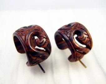 Round Hoop Hand Carved Wood Post Earrings Tribal Style  - PE014 RW G1