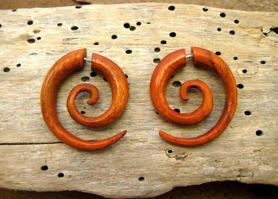 Earrings Fake Gauge Wooden Earrings Spiral Tribal Earrings - Gauges Plugs Bone Horn - FG009 OW G1