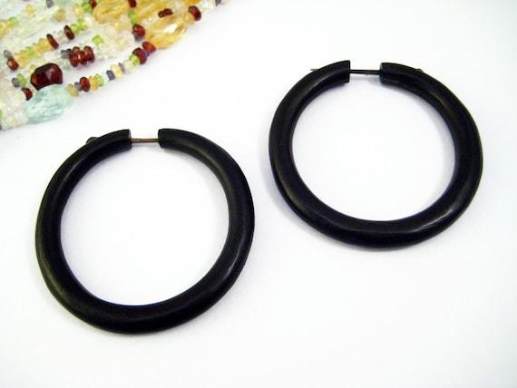 Hoop Post Earring Wood Handmade Tribal Style - Gauges Plugs Bone Horn - PE020L DW G2