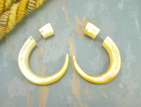 Fake Gauges Earrings Mother pearl Hook Tribal Earrings - FG008 AS