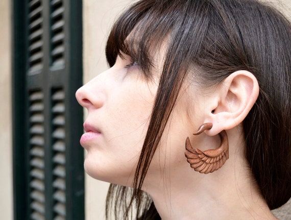 Earrings Fake Gauge Wooden Swan Tribal Earrings - FG001 W