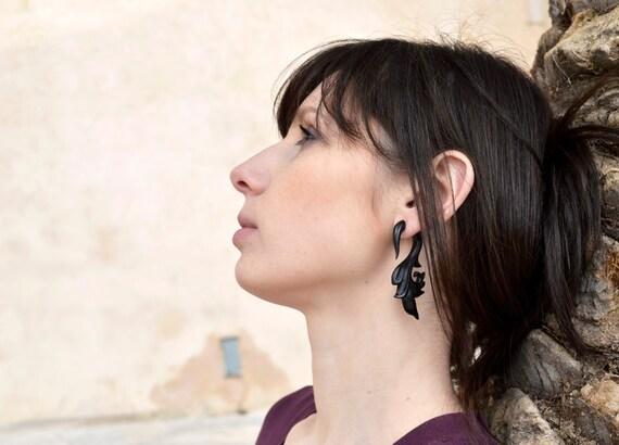 Fake Gauges Wood Earrings Flower Drops  Black Wooden Organic Earrings Natural Tribal - FG039 DW