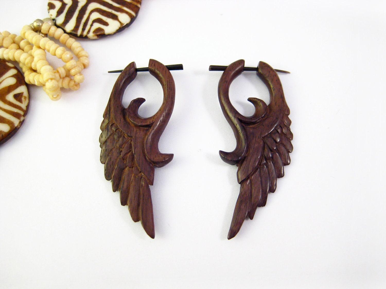 post wooden earrings wings black tribal by organicethnic
