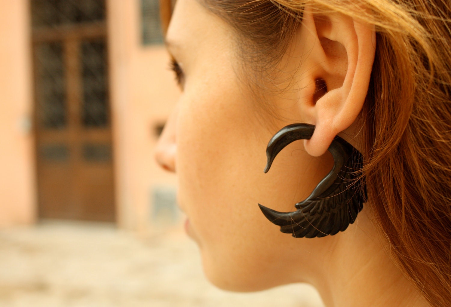 Fake Gauges Earrings Horn Fake Plug Earrings Swan Black Tribal