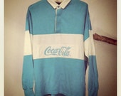 Vintage Baby Blue Coca Cola Rugby Shirt