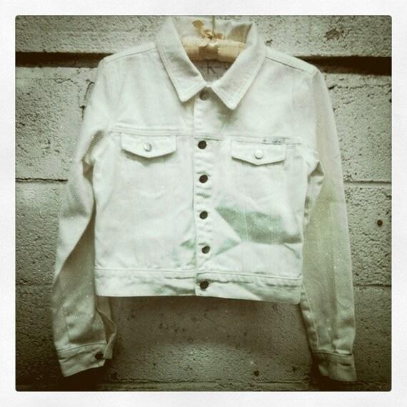 SALE 90s Calvin Klein White Denim Jacket