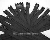 10pcs 4 Inch YKK Zippers Closed Bottom Color 580 Black