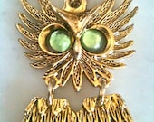 Vintage 50s Costume Jewelry Owl Pendant Brooch BoHo Chic
