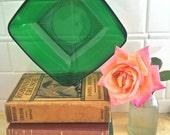 Vintage Forest Green Anchor Hocking Charm Square Salad Bowl Depression Glass